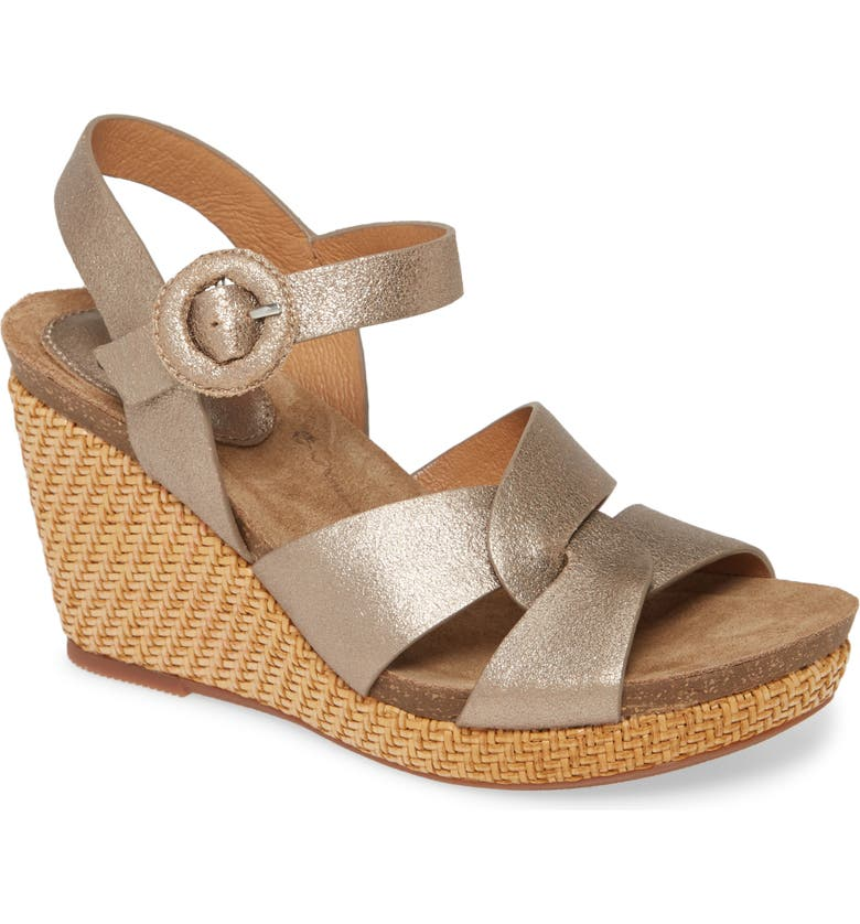 SÖFFT Casidy Wedge Sandal, Main, color, GOLD LEATHER