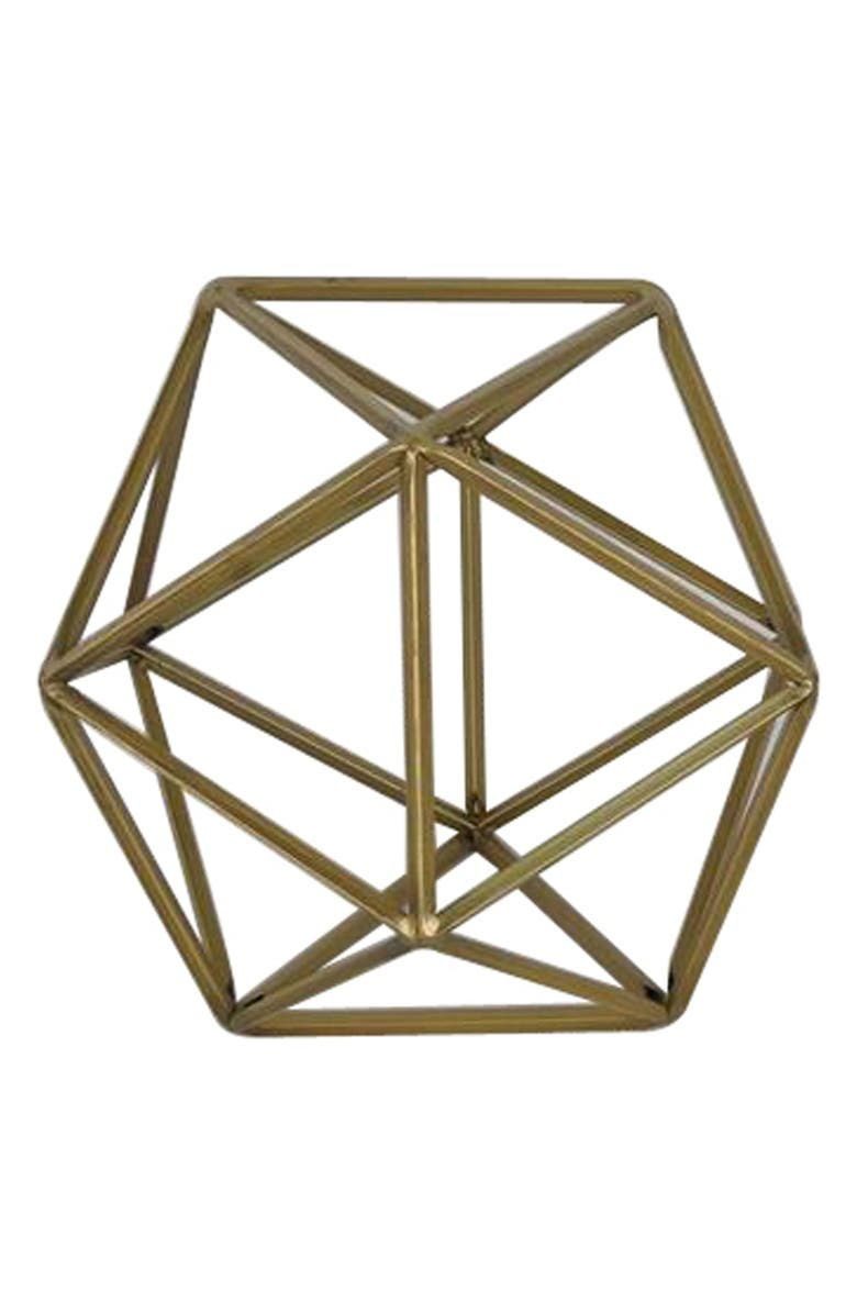 CRYSTAL ART GALLERY Crystal Art Galley Geometric Metal Tabletop Decoration, Main, color, Gold