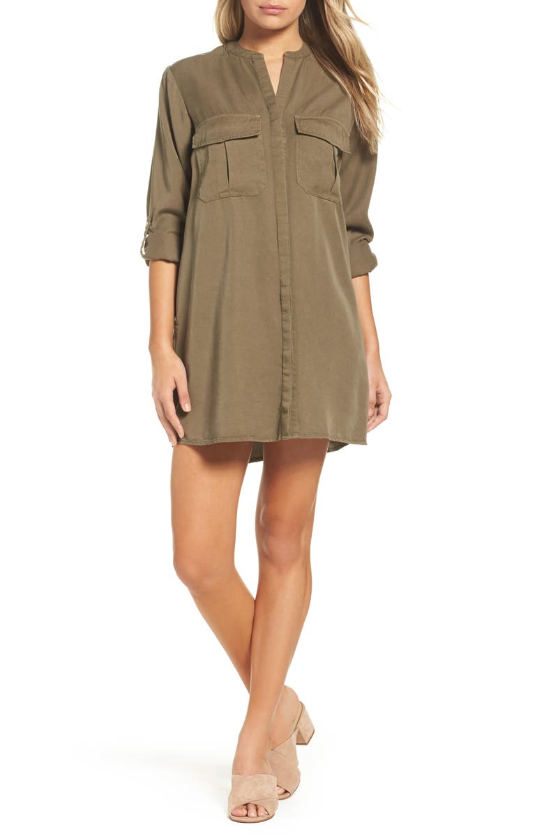 KNOT SISTERS Cooper Shirtdress, Main, color, MILITARY GREEN