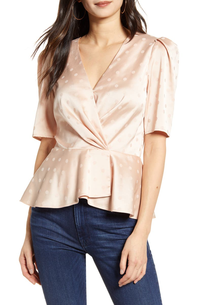CHELSEA28 Puff Sleeve Satin Top, Main, color, 680