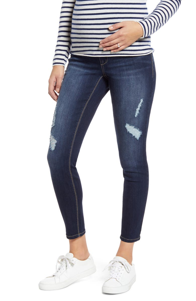 1822 DENIM Ripped Ankle Skinny Maternity Jeans, Main, color, MILEY