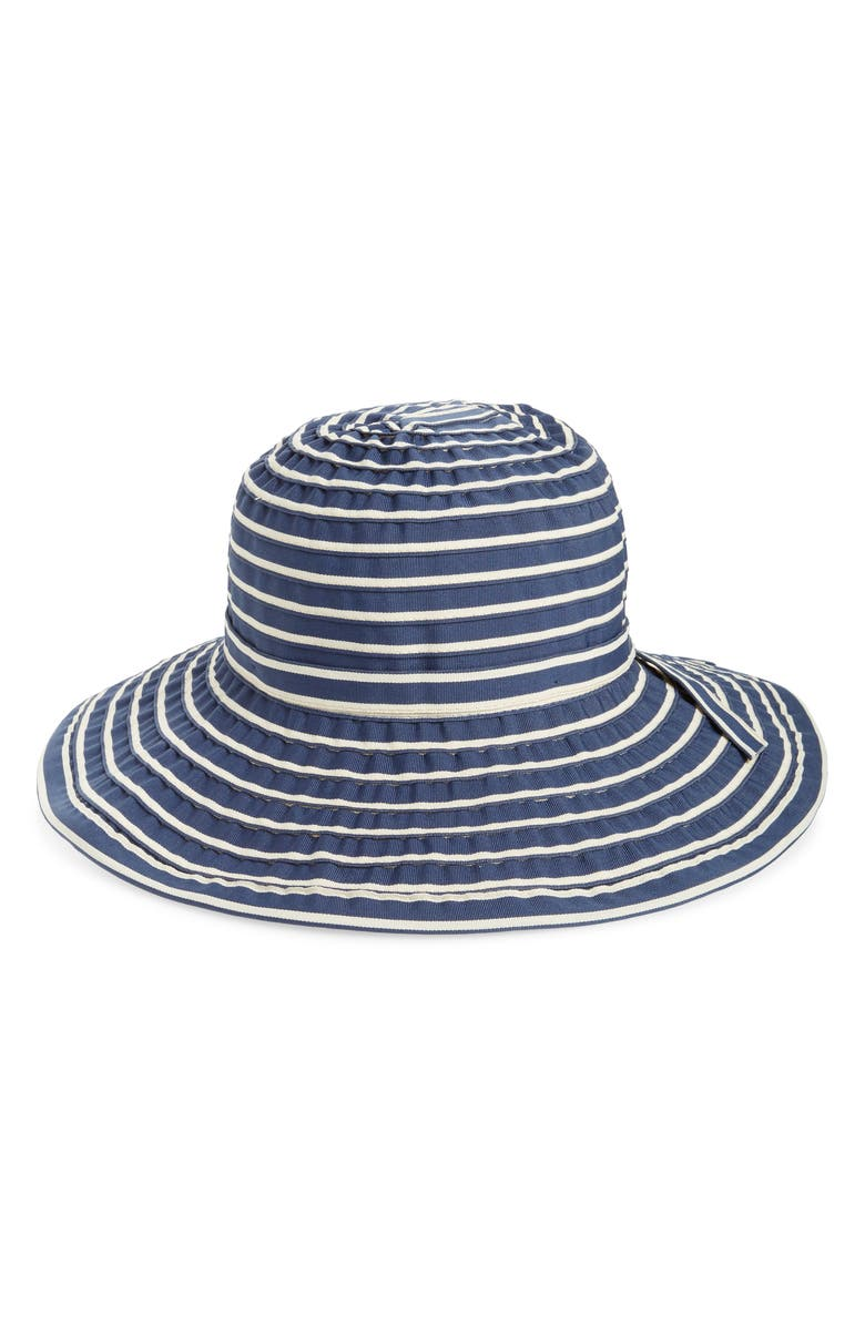 SAN DIEGO HAT Striped Ribbon Sun Hat, Main, color, NAVY/ WHITE