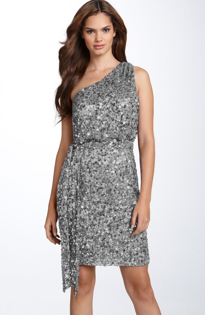 AIDAN MATTOX Sequin One Shoulder Dress, Main, color, 041