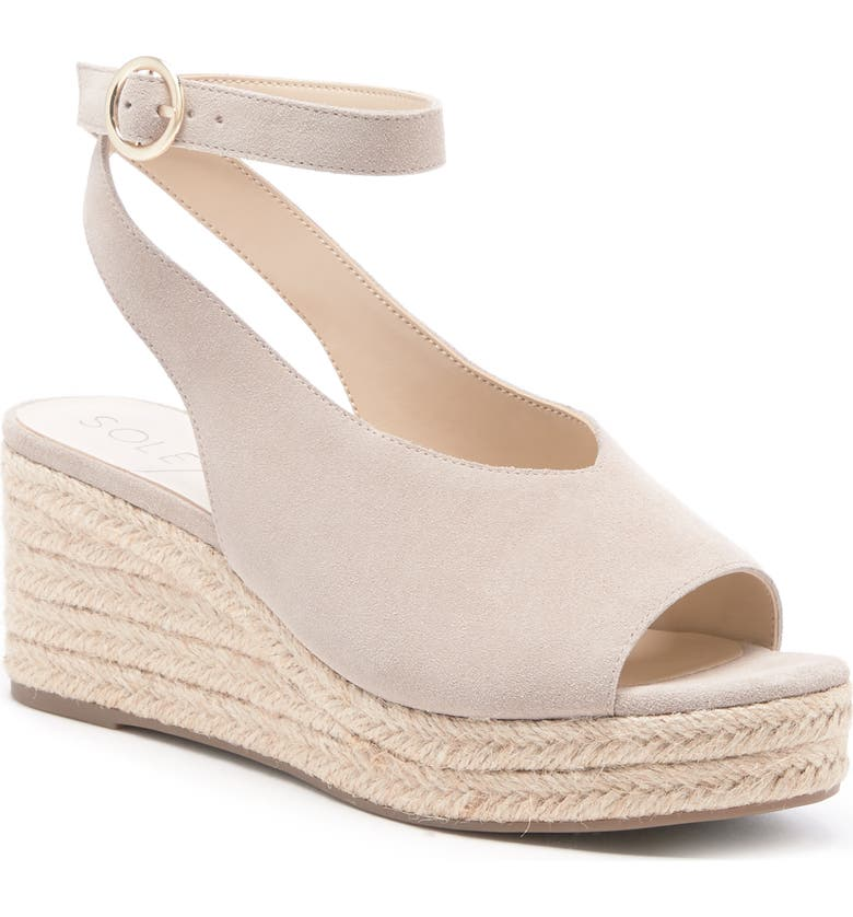 SOLE SOCIETY Calyndra Wedge Sandal, Main, color, SANDSTONE SUEDE