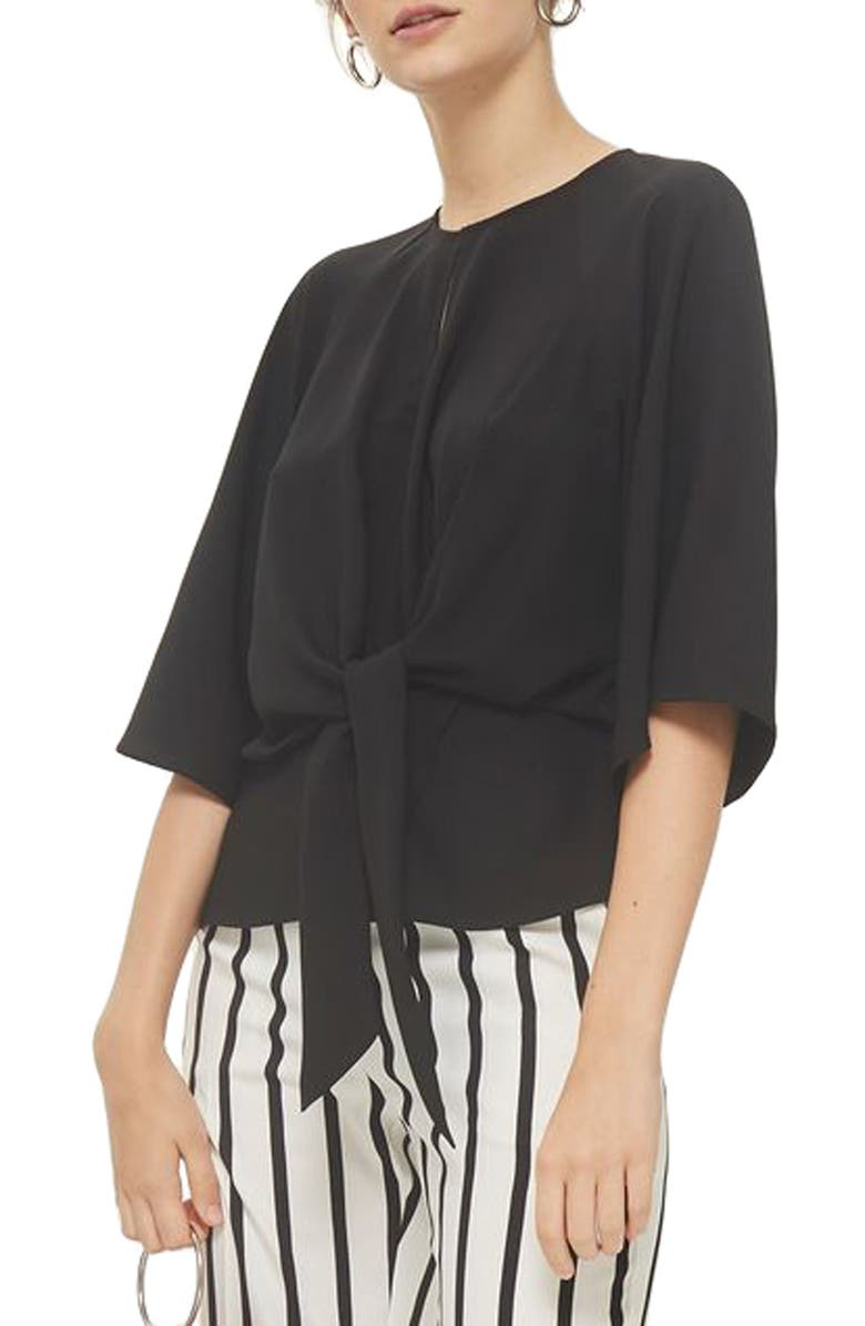 TOPSHOP Slouchy Knot Front Blouse, Main, color, 001