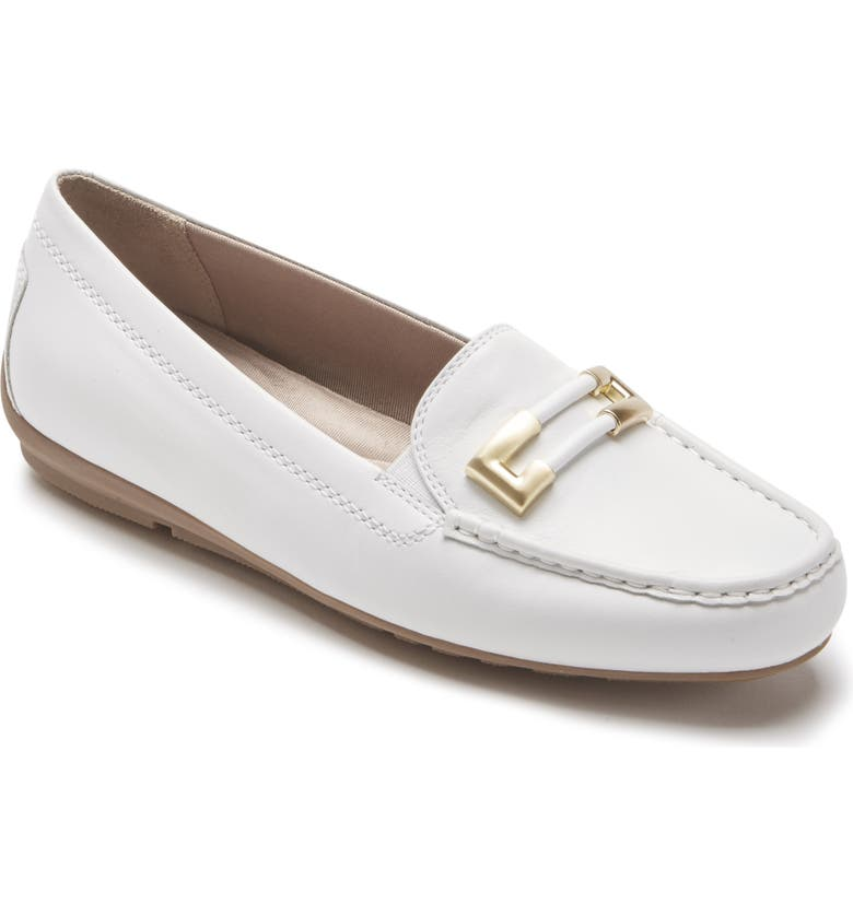 ROCKPORT New Ornament Flat, Main, color, WHITE LEATHER