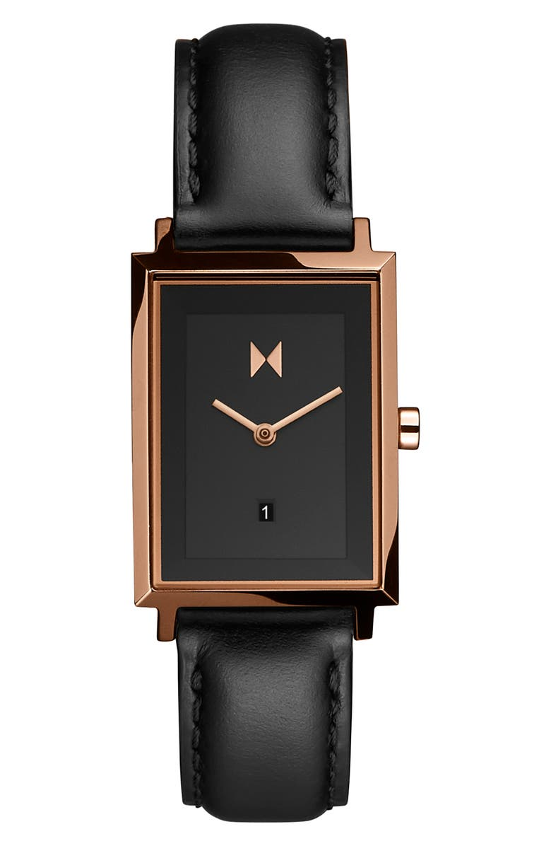 MVMT Signature Square Leather Strap Watch, 24mm, Main, color, 001