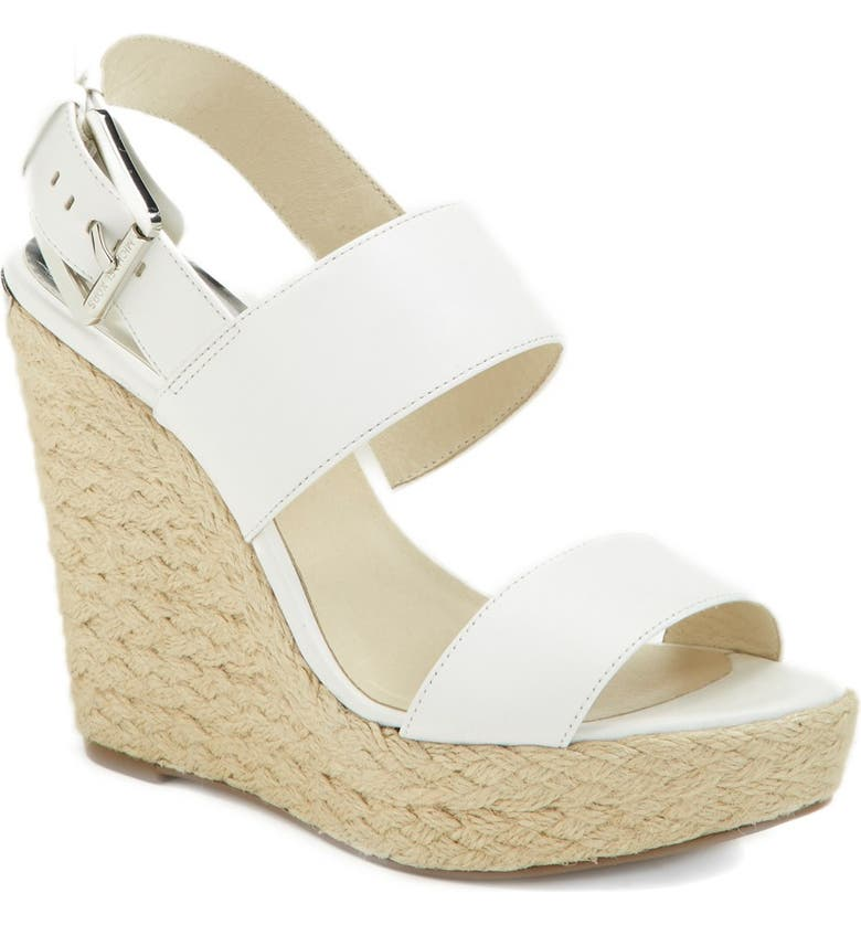 MICHAEL MICHAEL KORS 'Posey' Espadrille Wedge Sandal, Main, color, 100
