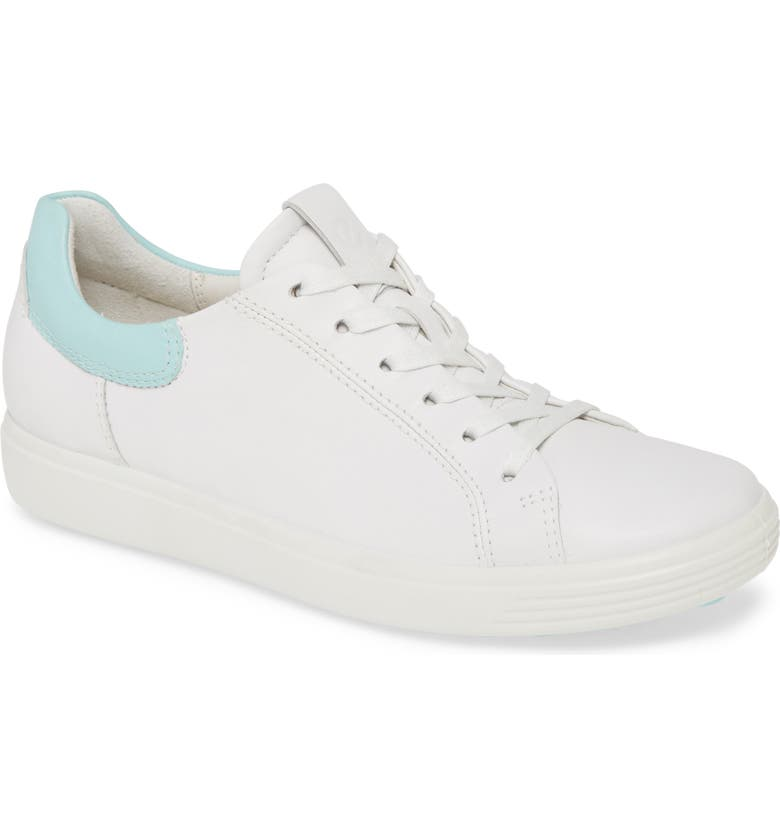 ECCO Soft 7 Street Sneaker, Main, color, WHITE/ EGGSHELL BLUE LEATHER