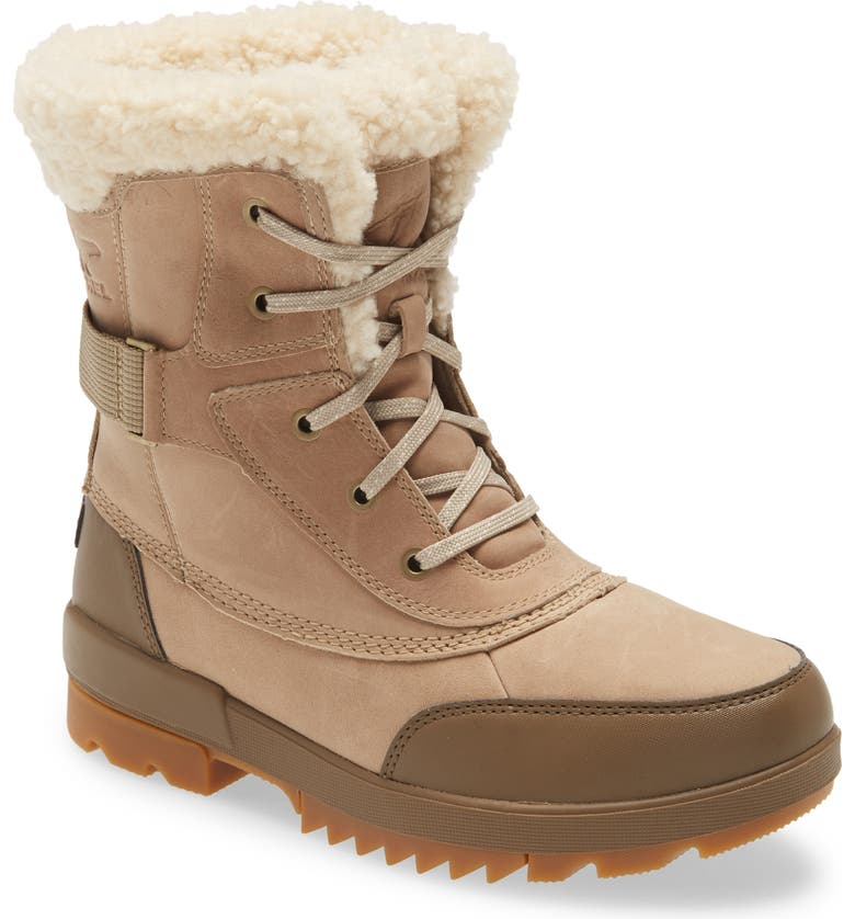 SOREL Tivoli IV Parc Genuine Shearling Trim Waterproof Boot, Main, color, SANDY TAN