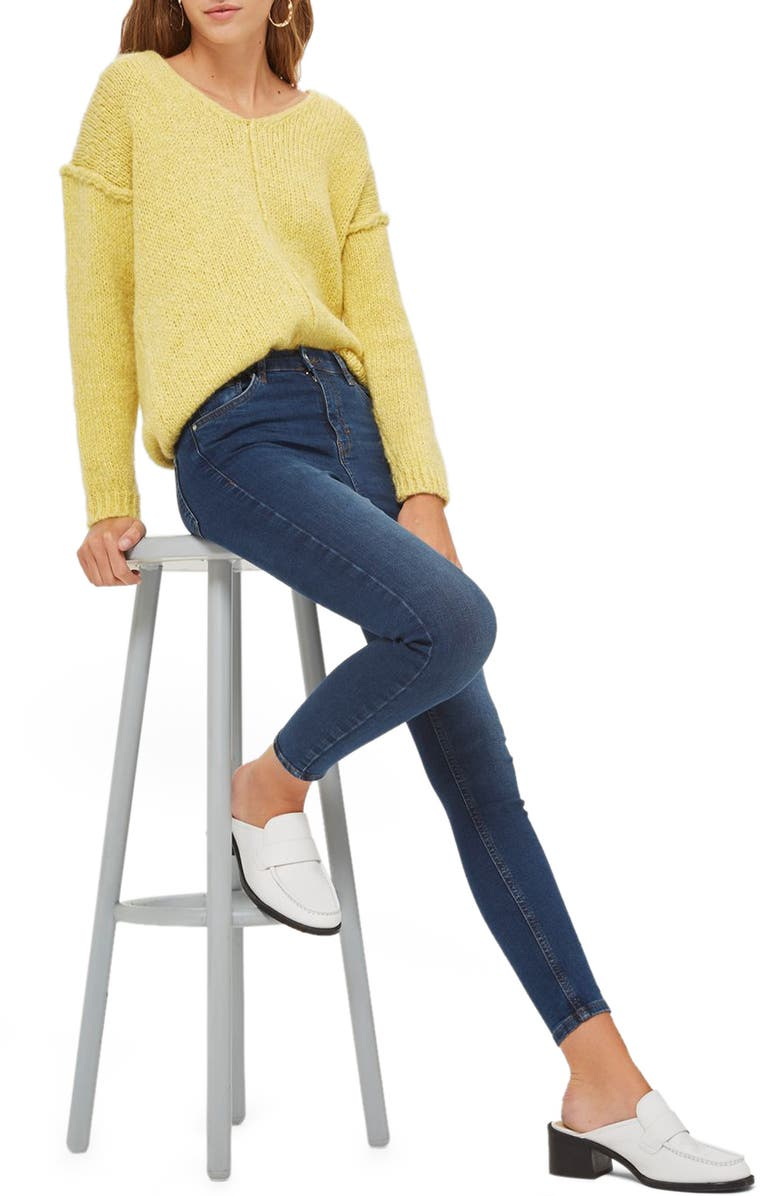 TOPSHOP Jamie High Rise Ankle Skinny Jeans, Main, color, 401