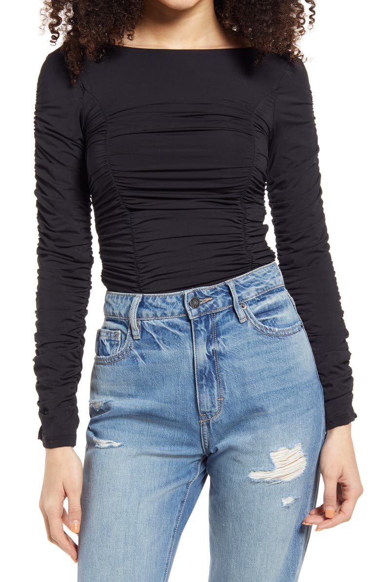 TOPSHOP Ruched Top, Main, color, BLACK