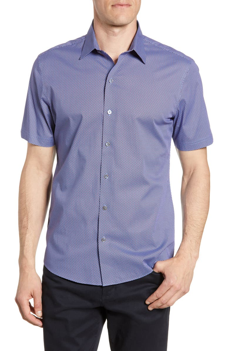 ZACHARY PRELL Jackson Regular Fit Short Sleeve Button-Up Shirt, Main, color, 400