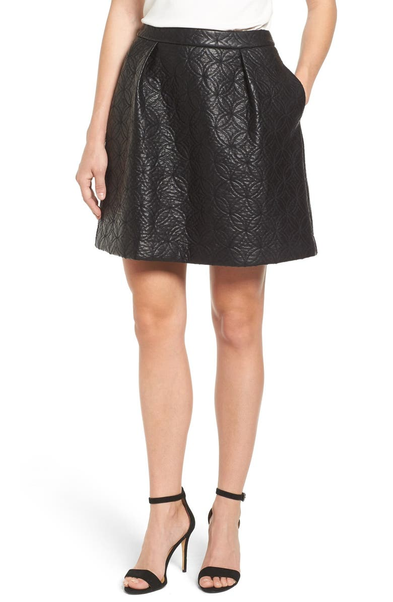 HALOGEN<SUP>®</SUP> Quilted Faux Leather Miniskirt, Main, color, 001