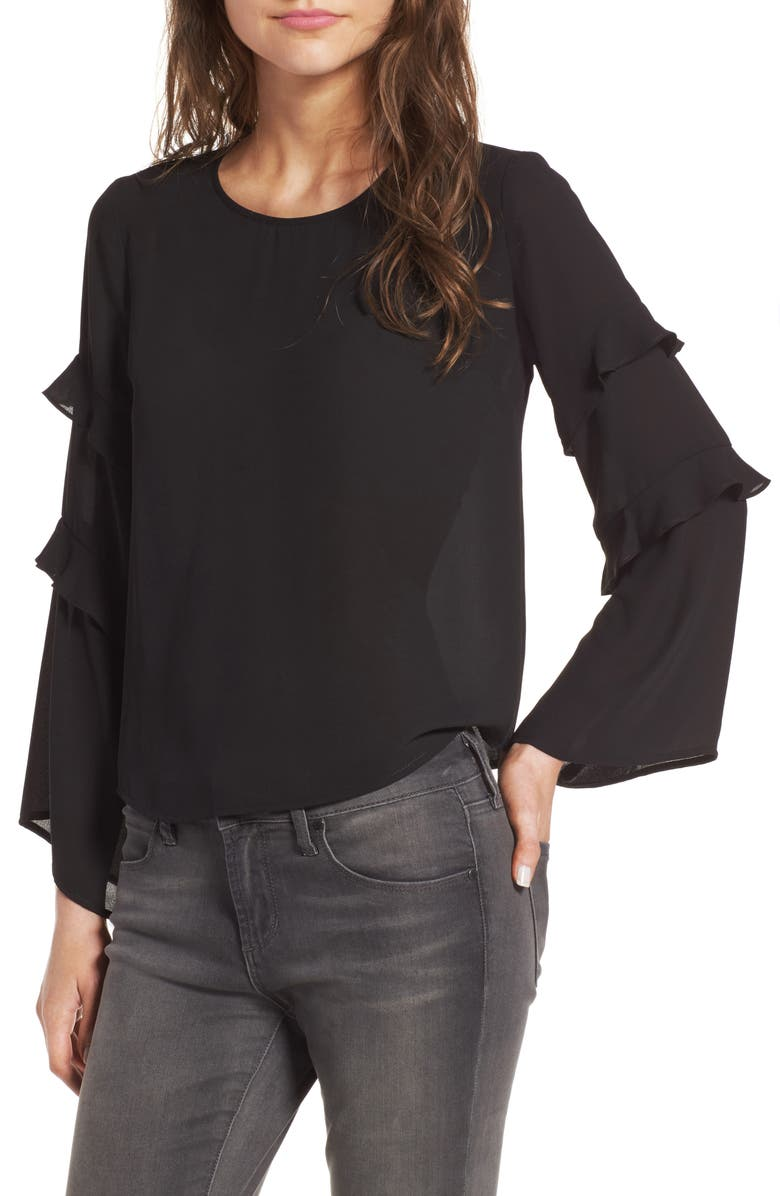 --- Ruffle Bell Sleeve Blouse, Main, color, 001