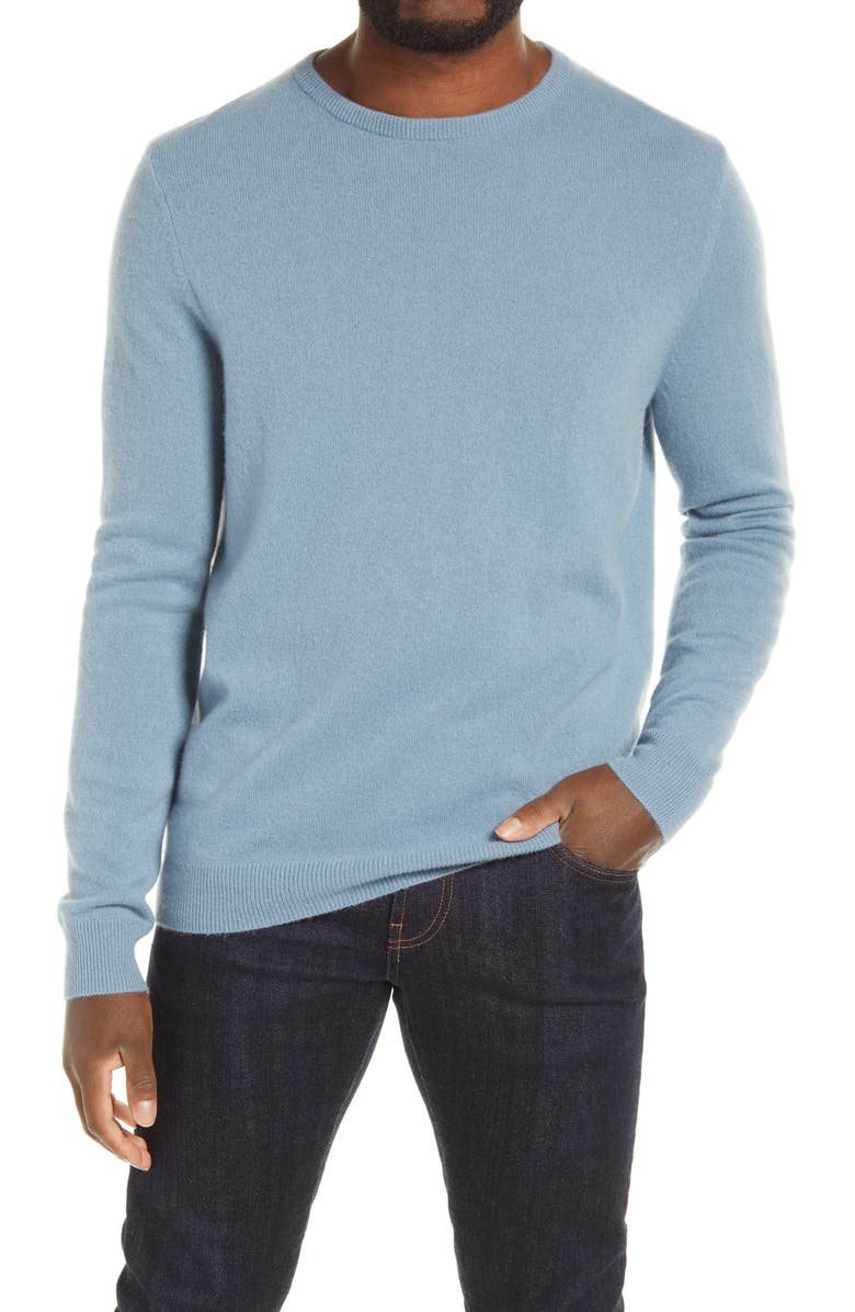 NORDSTROM Cashmere Crewneck Sweater, Main, color, BLUE CHAMBRAY