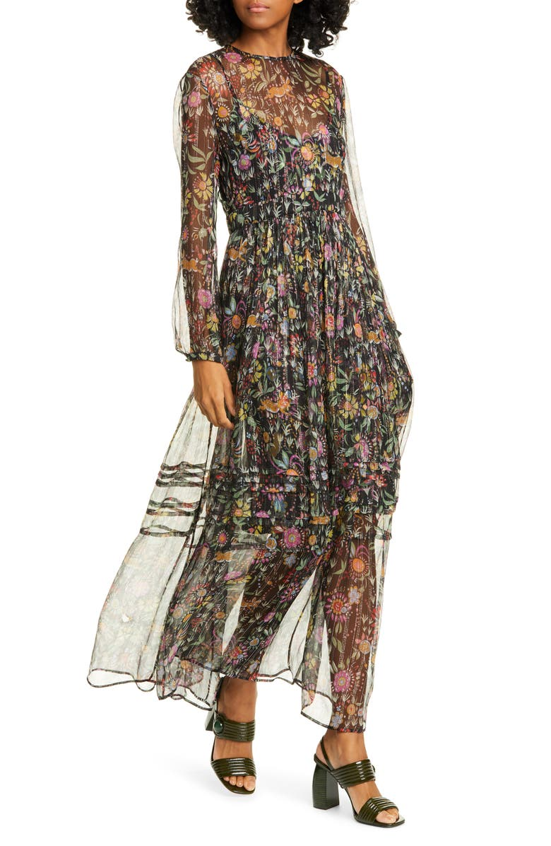 LA DOUBLEJ Floral Metallic Stripe Long Sleeve Maxi Dress, Main, color, 250