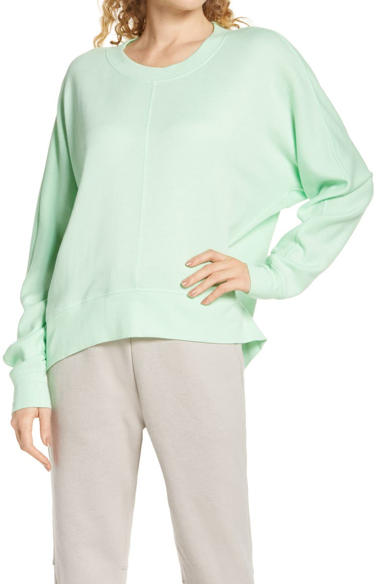 ZELLA Carey Crew High/Low Sweatshirt, Main, color, GREEN ASH