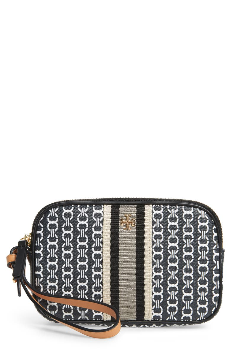 TORY BURCH Gemini Link Canvas Wristlet, Main, color, 001