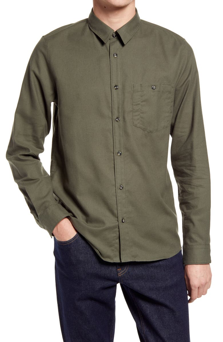 A.P.C. Chicago Solid Button-Up Shirt, Main, color, 345