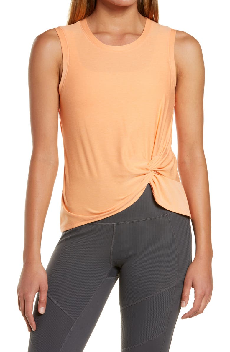 BEYOND YOGA Front Twist Muscle Tank, Main, color, SUNSET PEACH SOLID
