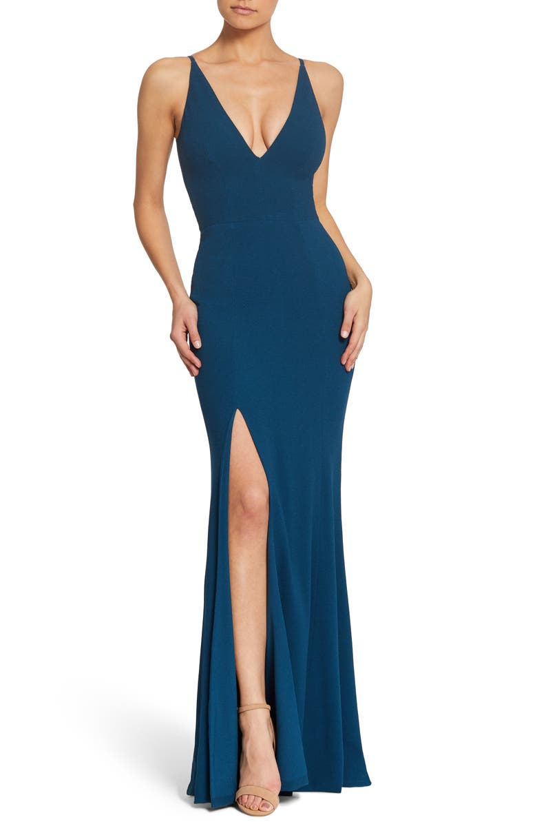 DRESS THE POPULATION Iris Crepe Trumpet Gown, Main, color, 402