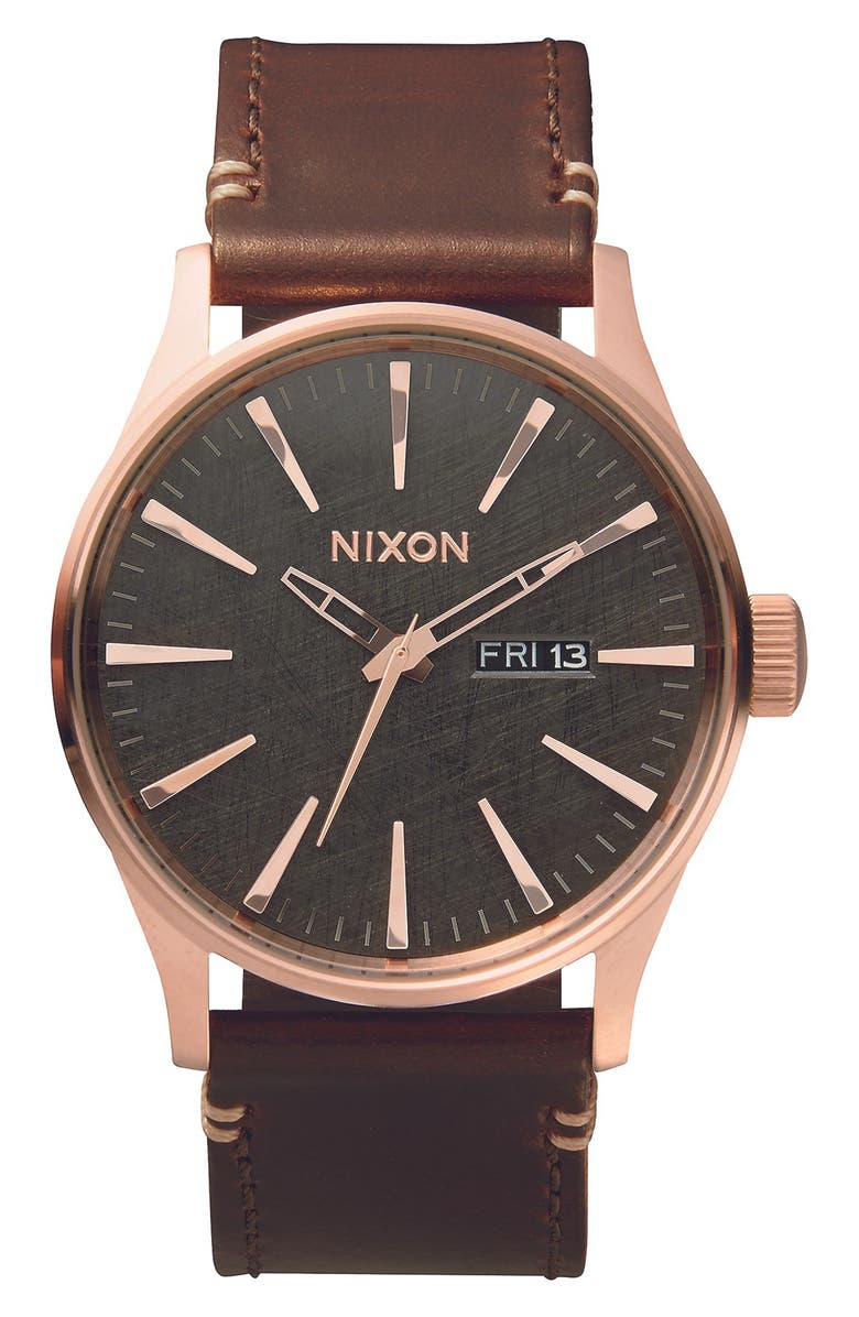 NIXON The Sentry Leather Strap Watch, 42mm, Main, color, ROSE GOLD / GUNMETAL / BROWN