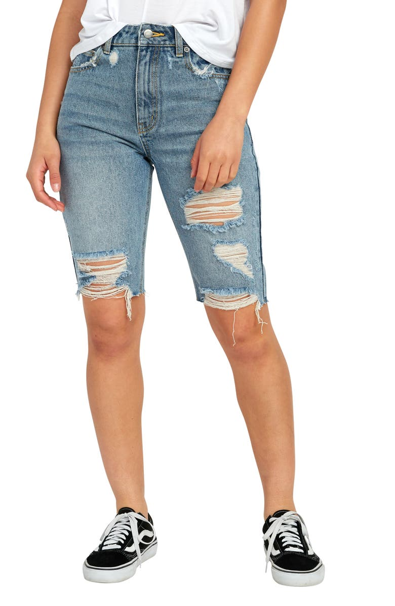 RVCA Off Road Ripped Denim Bermuda Shorts, Main, color, WASHED BLUE