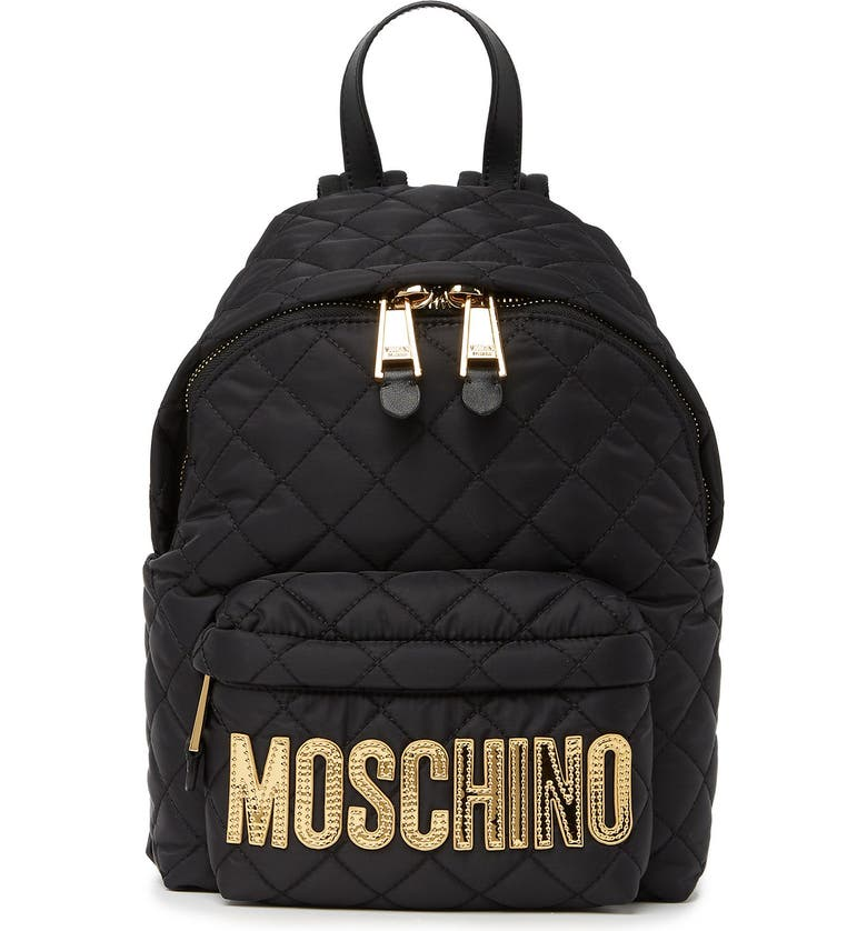 MOSCHINO Diamond Quilt Logo Backpack, Main, color, BLACK GOLD
