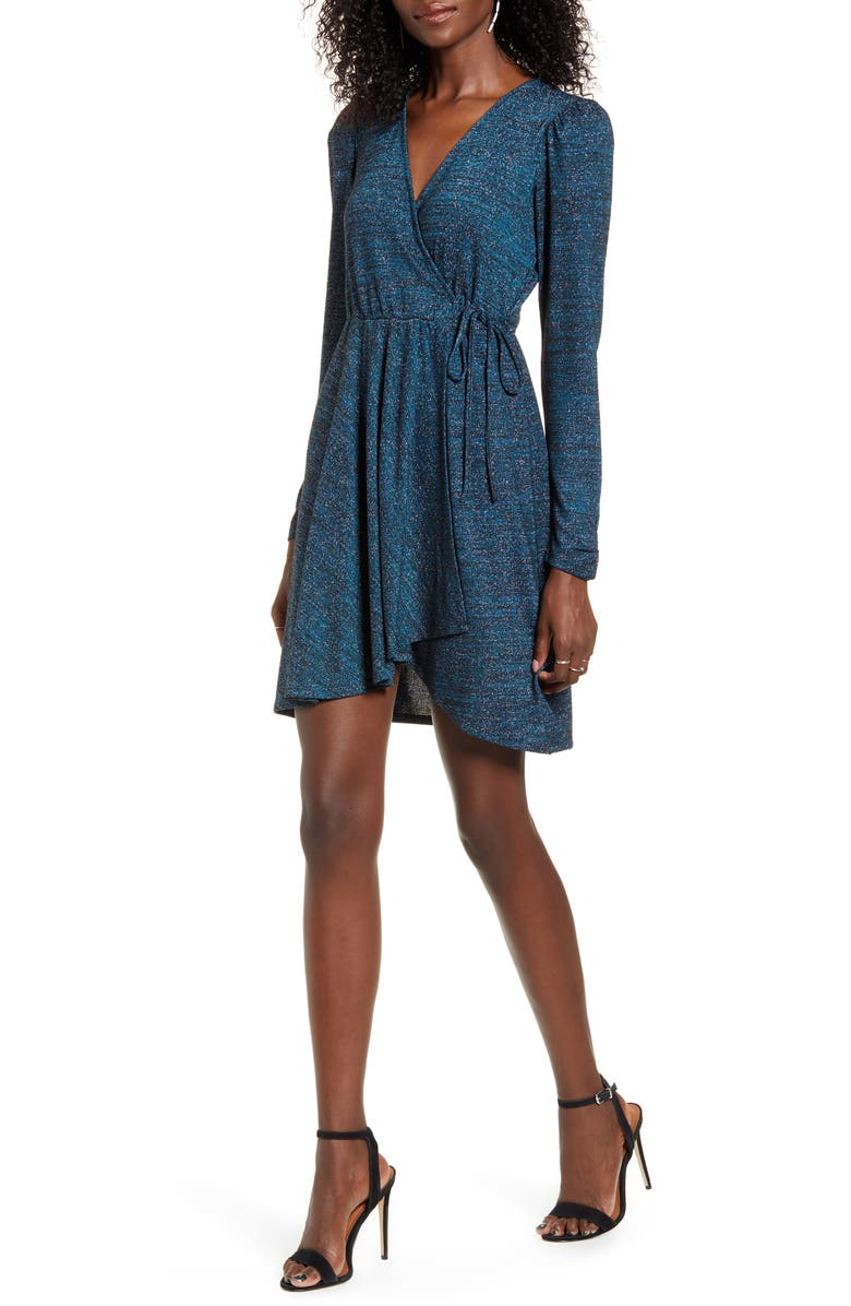 BAND OF GYPSIES Gemme Long Sleeve Faux Wrap Metallic Dress, Main, color, 400