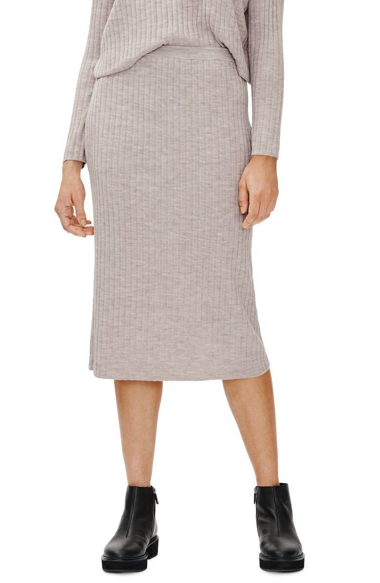 EILEEN FISHER Merino Wool Ribbed Pencil Skirt, Main, color, MPOAT