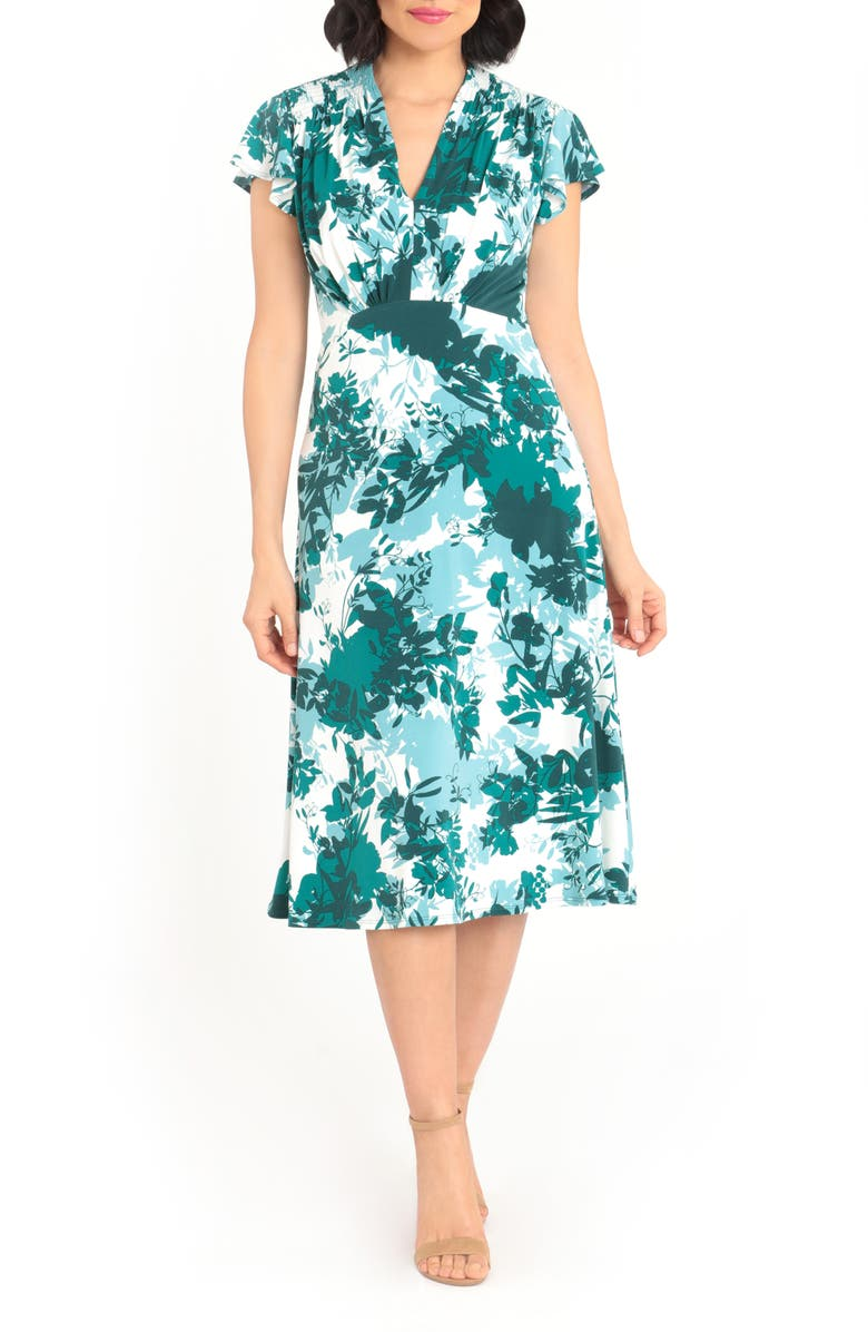 MAGGY LONDON Floral Print Flutter Sleeve Midi Dress, Main, color, SOFT WHITE/ TEAL GREEN