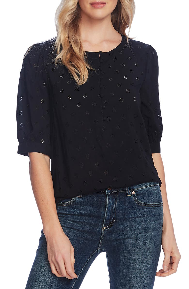 VINCE CAMUTO Floral Eyelet Embroidered Top, Main, color, 001