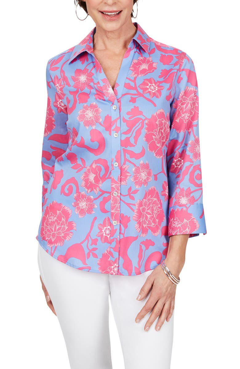 FOXCROFT Mary Floral Wrinkle Free Button-Up Shirt, Main, color, MULTI