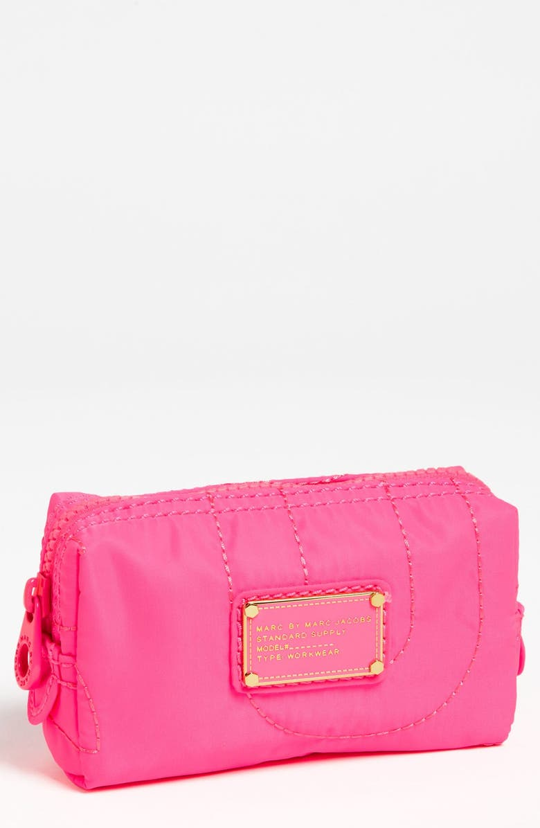 MARC JACOBS MARC BY MARC JACOBS 'Pretty Nylon' Cosmetics Case, Main, color, KNOCKOUT PINK