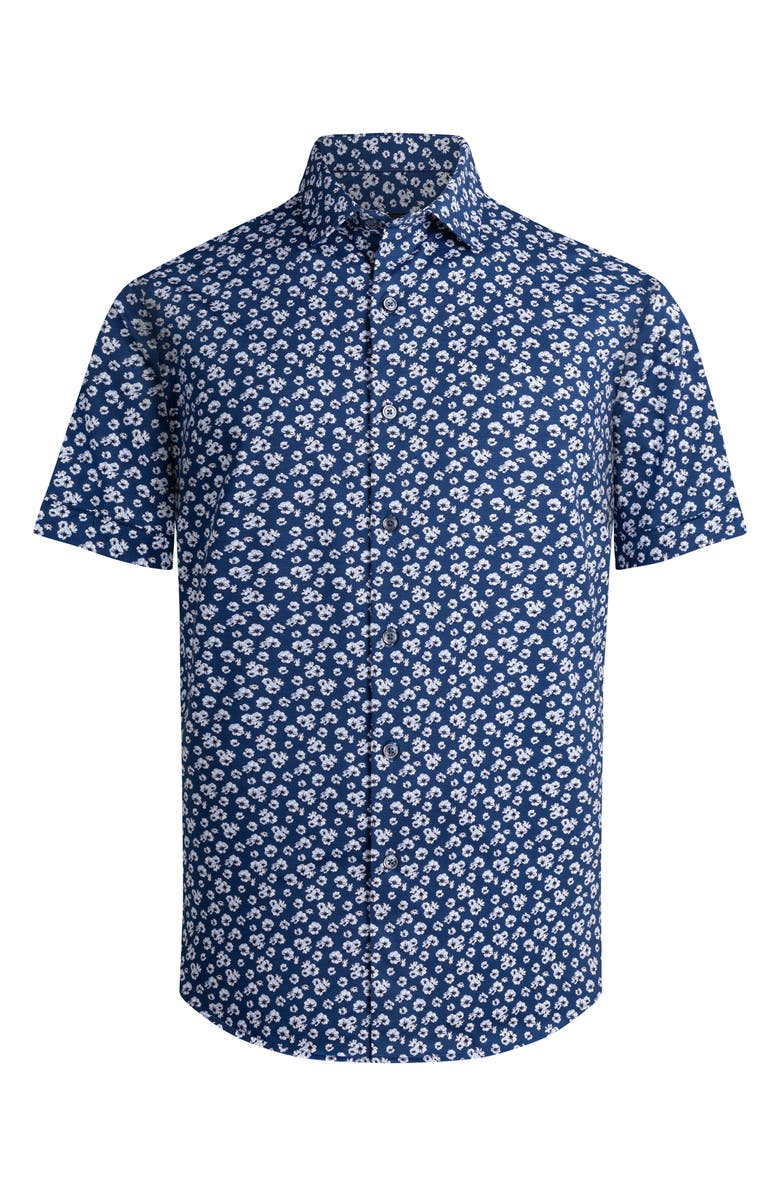 BUGATCHI OoohCotton<sup>®</sup> Tech Knit Short Sleeve Button-Up Shirt, Main, color, NIGHT BLUE
