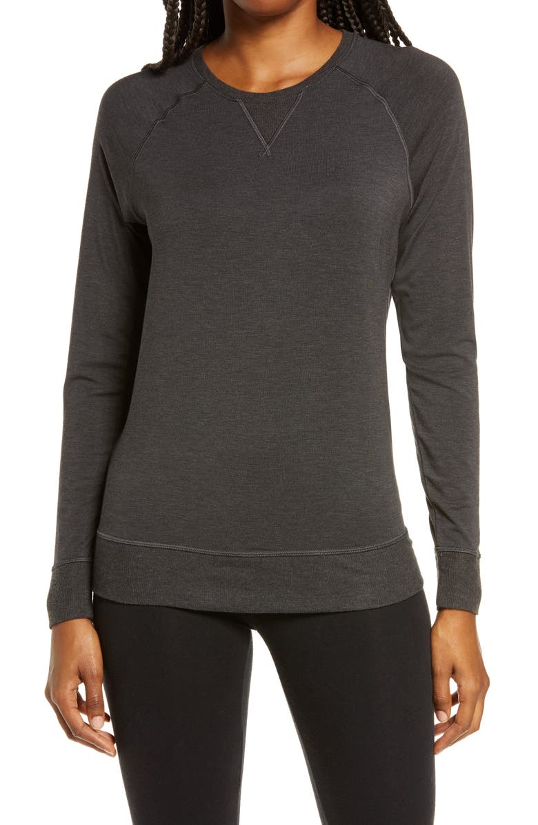 TOMMY JOHN Lounge Crewneck Sweatshirt, Main, color, 020