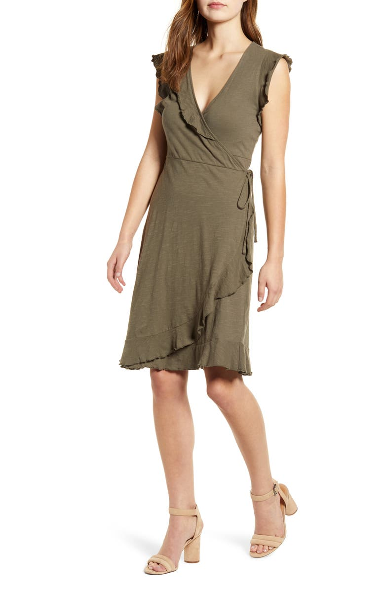 LUCKY BRAND Spring Fling Ruffle Cotton Knit Wrap Dress, Main, color, 340