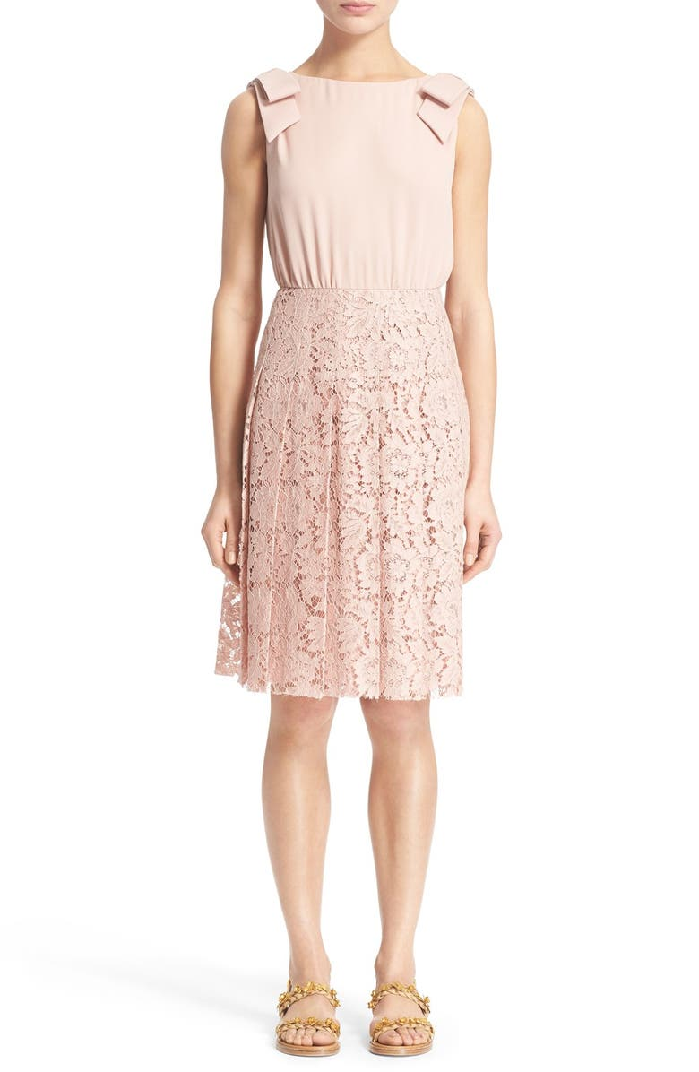VALENTINO Bow Detail Georgette & Lace Dress, Main, color, POWDER ROSE