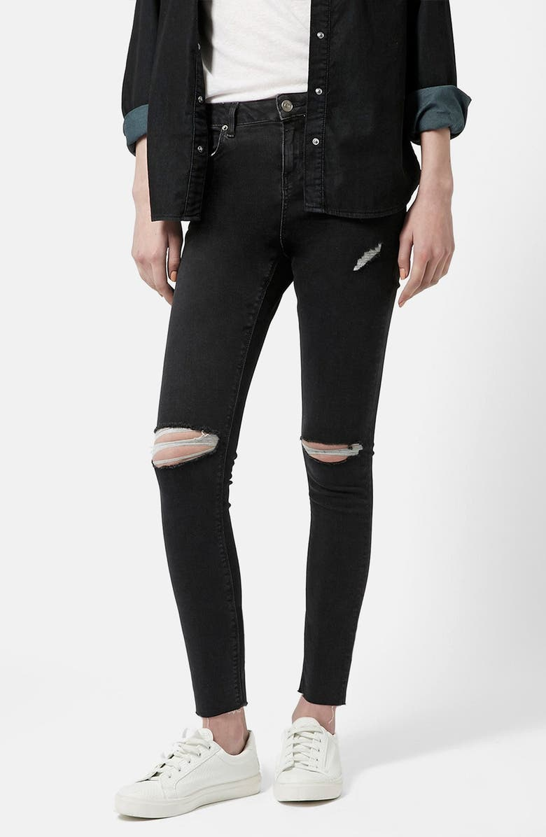 TOPSHOP 'Jamie' Ripped Skinny Jeans, Main, color, 001
