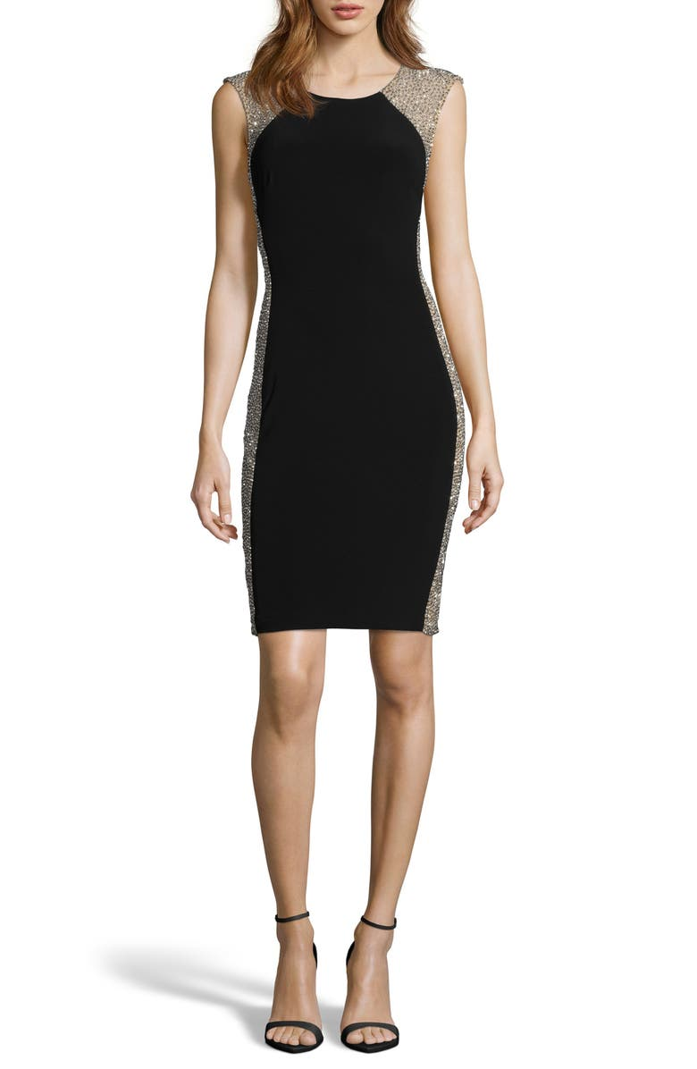 XSCAPE Beaded Body-Con Cocktail Dress, Main, color, BLACK/ NUDE/ SILVER