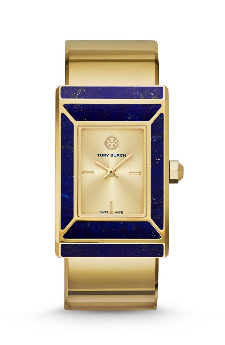 TORY BURCH 'Robinson' Rectangle Case Bangle Watch, 25mm x 38mm, Main, color, GOLD/ LAPIS
