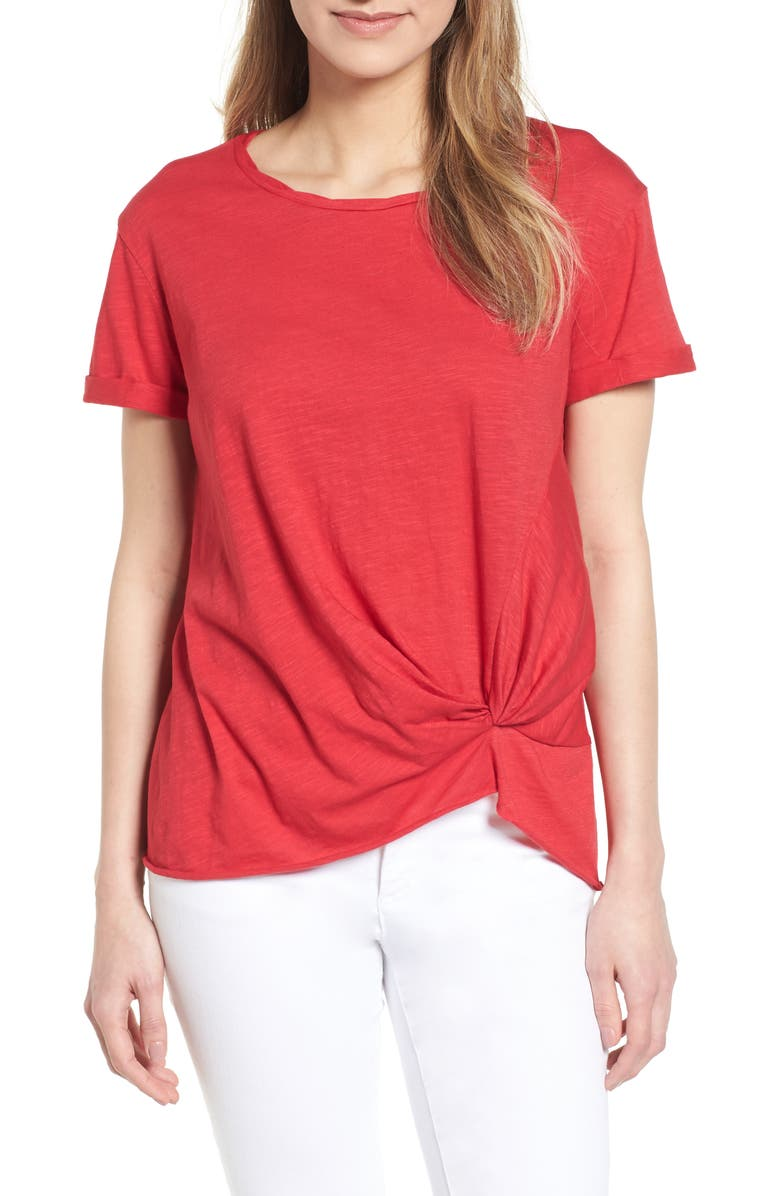 CASLON<SUP>®</SUP> Knotted Tee, Main, color, RED JALAPENO