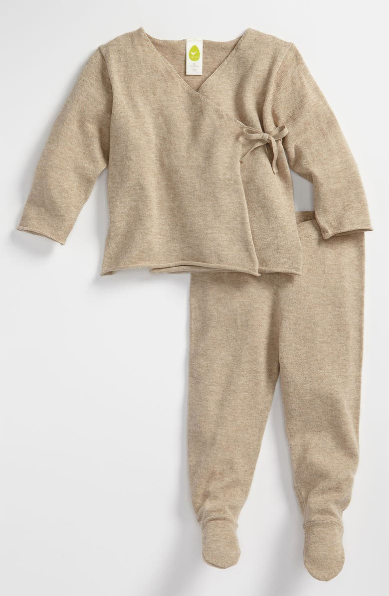 STEM BABY Wrap Sweater & Footed Leggings, Main, color, OAT HEATHER