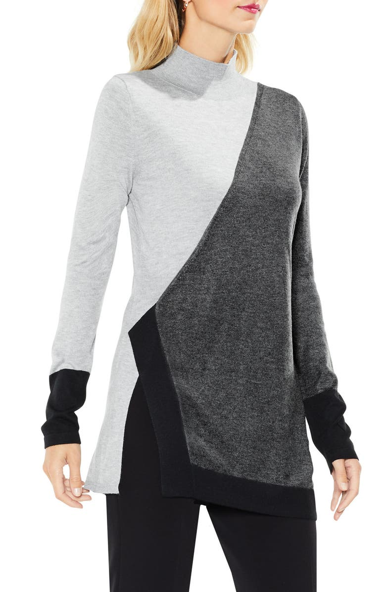 VINCE CAMUTO Long Sleeve Colorblocked Turtleneck, Main, color, 013