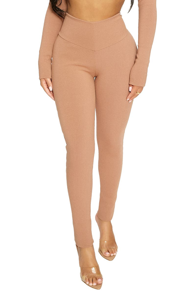 NAKED WARDROBE High Waist V-Cut Rib Leggings, Main, color, COCO