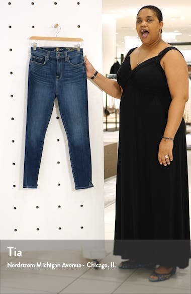 7 For All Mankind High Waist Side Snip Ankle Skinny Jeans, sales video thumbnail
