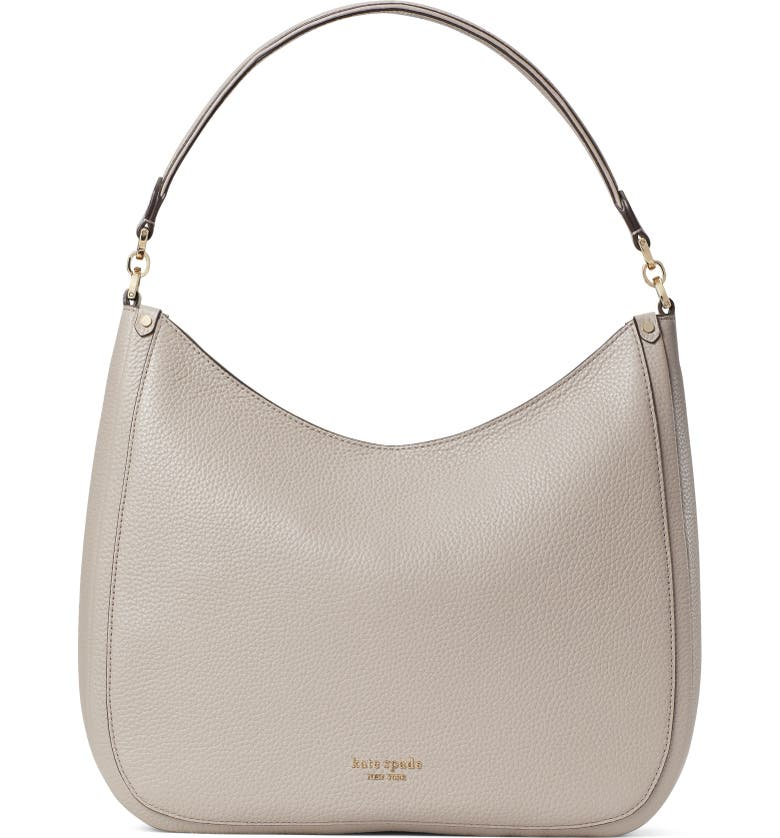 KATE SPADE NEW YORK roulette large leather hobo bag, Main, color, WARM TAUPE