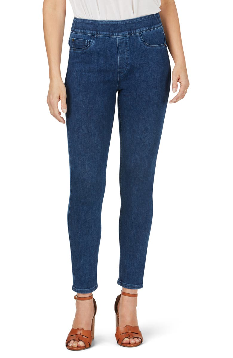 FOXCROFT Uptown Slim Leg Pull-On Stretch Pants, Main, color, CLASSIC BLUE