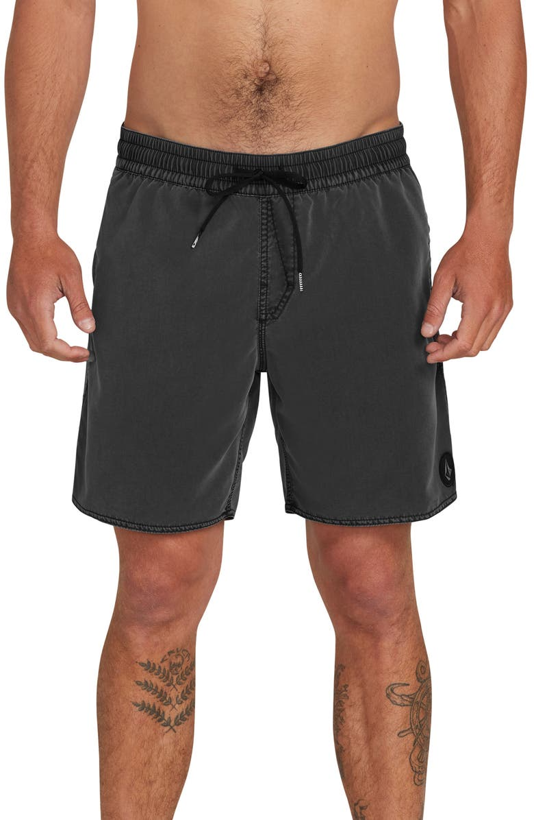 VOLCOM Center Swim Trunks, Main, color, Black